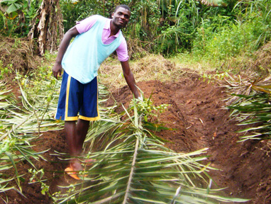 Kevin practicing sustainable farming