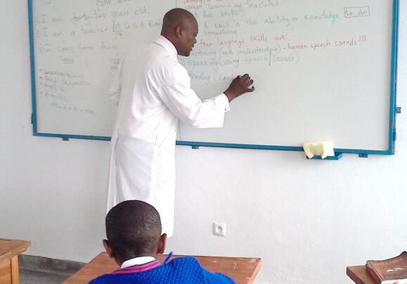 teacher with whiteboard